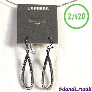Express Open Rhinestone Teardrop Dangle Earrings NOC